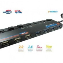 mbeat 4 Port USB 3.0 plus 3 Port USB 2.0 Hub with Switches and Power Adapter